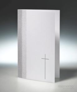 Trauerkarte Silberrand mit Kreuz Klappkarte Hochformat