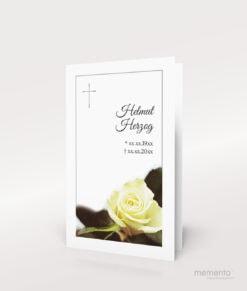 Produktbild Sterbebild Rose mit Silberkreuz
